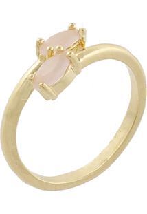 6494055eb65 ... Anel Mini Navete Narcizza Semijoias Duplo Quartzo Rosa Leitoso - Ouro