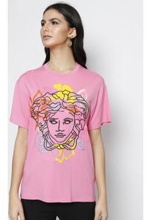 Camiseta Com Bordados Florais & Seda - Rosa & Pretaversace