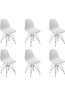 Cadeira E Banco De Jantar Impã©Rio Brazil Charles Eames Eiffel Base De Metal - Branco/Incolor - Dafiti
