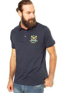 Camisa Polo Zebra Rafting Azul Marinho