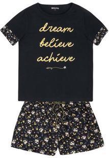 Pijama Feminino Em Malha De Algodão Com Lettering Frontal