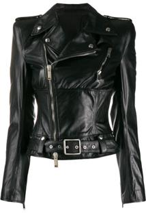 Unravel Project Asymmetric Leather Jacket - Preto