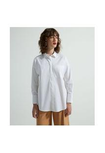 Camisa Alongada Manga Longa Em Tricoline Com Bolsinho Frontal | Cortelle | Branco | P