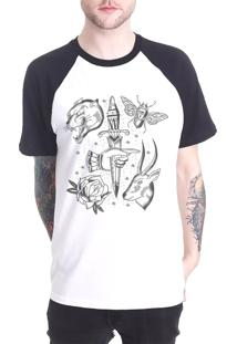 Camiseta Raglan Chess Clothing Dagger Tattoo Branca
