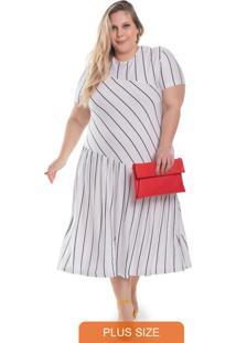 Vestido Feminino Plus Size Com Listras Branco