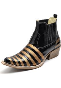 Botina Bota Country Bico Fino Top Franca Shoes Verniz Preto / Dourado