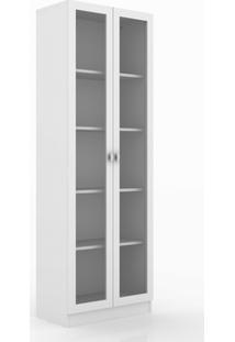 Armário Para Escritório Com 2 Portas De Vidro Tecno Mobili - Branco