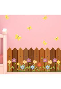 Adesivo De Parede Quartinhos Cerca De Madeira E Flores Colorido