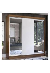 Guarda-Roupa Casal Madesa Istambul 3 Portas De Correr Com Espelhos 3 Gavetas - Rustic/Branco Marrom