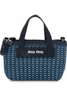 Miu Miu Bolsa De Mão Com Padronagem Trançada - Azul