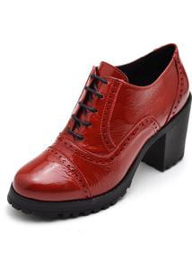 Oxford Ankie Boot Em Couro Yes Basic Casual Ref 19000 Verniz Vermelha