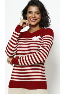 Blusa Em Tricot Listrada- Vermelha & Bege- Ponto Aguponto Aguiar