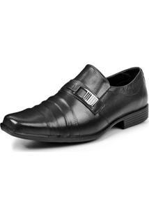 Sapato Social Couro Store Detalhe Metal Masculino - Masculino-Preto