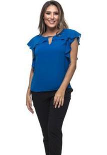 Blusa Clara Arruda Decote Babado Feminina - Feminino-Azul
