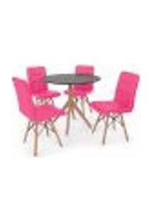 Conjunto Mesa De Jantar Maitê 80Cm Preta Com 4 Cadeiras Eiffel Gomos - Rosa
