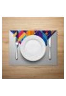 Jogo Americano Mdecore Abstrato 40X28Cm Colorido 4Pçs