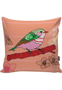 Capa De Almofada Little Bird- Salmão & Verde- 45X45Cstm Home