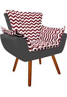 Poltrona Decorativa Opala Suede Composê Estampado Zig Zag Vermelho D79 E Suede Grafite - D'Rossi