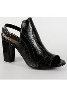 Sandália Feminina Open Boot Textura Croco Via Uno