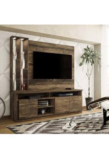Estante Home Theater Para Tv Até 50 Polegadas 3 Portas Com Espelho, Vidro E Led Ópera Canela Rústico - Colibri