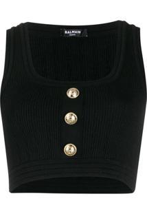 Balmain Blusa Cropped Canelada Com Aplicação De Botões - Preto