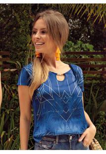 Blusa Estampa Sublimática Azul Cativa