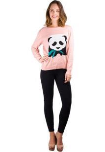Blusa Banna Hanna Tricot Panda Com Folha - Feminino-Salmão