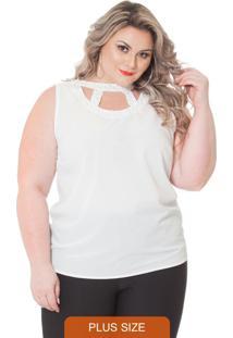 Blusa Sem Mangas Com Pérolas Branco Lepoque
