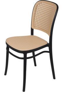 Cadeira Lauren Em Polipropileno Preto E Palha - 61957 - Sun House