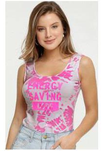 Body Feminino Neon Regata Estampa Tie Dye