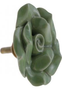 Puxador- Pashmina- Puxador Porta Ceramica Flor- Verde - Kanui