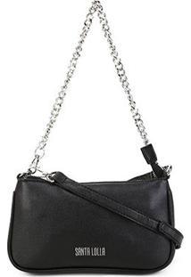 Bolsa Santa Lolla Mini Bag Caviar Alça Corrente Feminina - Feminino-Preto