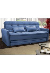 Sofá Cama 3 Lugares Com 2 Almofadas Madalena Matrix Azul