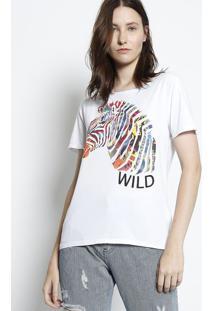 "Camiseta Zebra ""Wild"" - Branca & Pinkcanal"