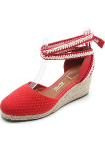 Sandália Santa Lolla Anabela Vermelha