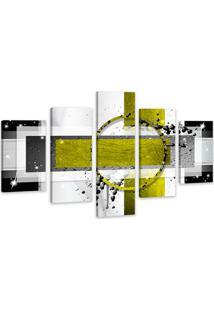 Quadro Oppen House 75X125Cm Abstrato Amarelo Decorativo Interiores Luxo