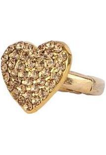Anel Armazem Rr Bijoux Regulável Coração - Feminino-Dourado