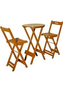 Conjunto Dobravel Bistrô Com 2 Cadeiras Mel - Btb Móveis