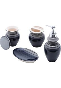 Conjunto De 4 Peças De Cerâmica P/Banheiro Vertigo (Cinza E Preto)