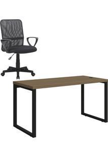 Kit Cadeira Executiva Giratória Trevalla + Mesa Para Escritório 1,50M Kappesberg