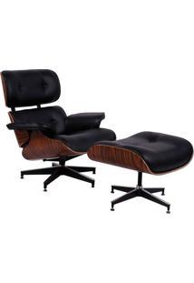 Poltrona Charles Eames Com Puff- Preta & Marrom- 87,Or Design