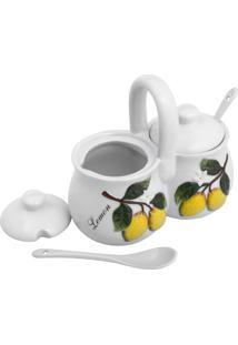 Porta Condimentos Bon Gourmet Cerâmica Lemons Com Colheres 250Ml