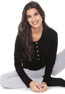 Camiseta Liz Easywear Botãµes Preta - Preto - Feminino - Viscose - Dafiti