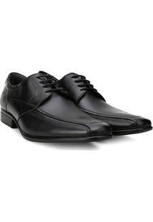 Sapato Social Couro Democrata Flex Amarração Masculino - Masculino-Preto