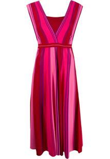 Pinko Vestido De Tricô Listrado - Rosa