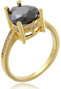 Anel Gota Negra Cravejado Com Micro Zircônias Cristal Banhado Em Ouro 18K 14