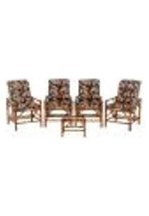 Conjunto Mesa E 4 Cadeiras De Bambu Cancun Para Área Edicula Jardim G36