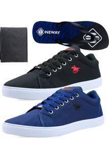 Kit Sapatenis Casual Neway Polo Energy Azul Preto 1 Chinelo Neway 1 Carteira