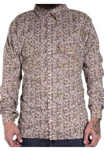Camisa Andy Roll Estampada Marshllow Marrom Escuro