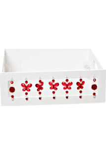 Bandeja Borboletas Vermelhas Potinho De Mel Branca